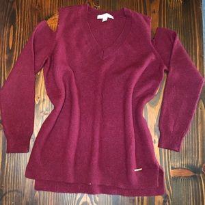 Burgundy Micheal Kors open shoulder Wool sweater